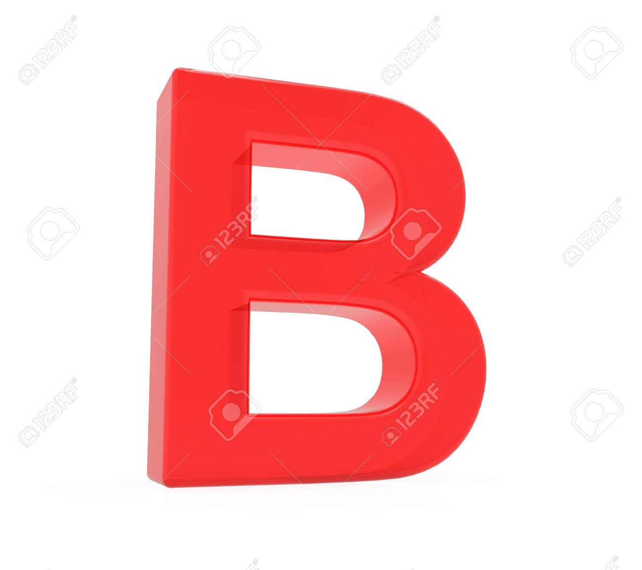 Red Letter B, 3D Rendering Graphic Isolated On White Background