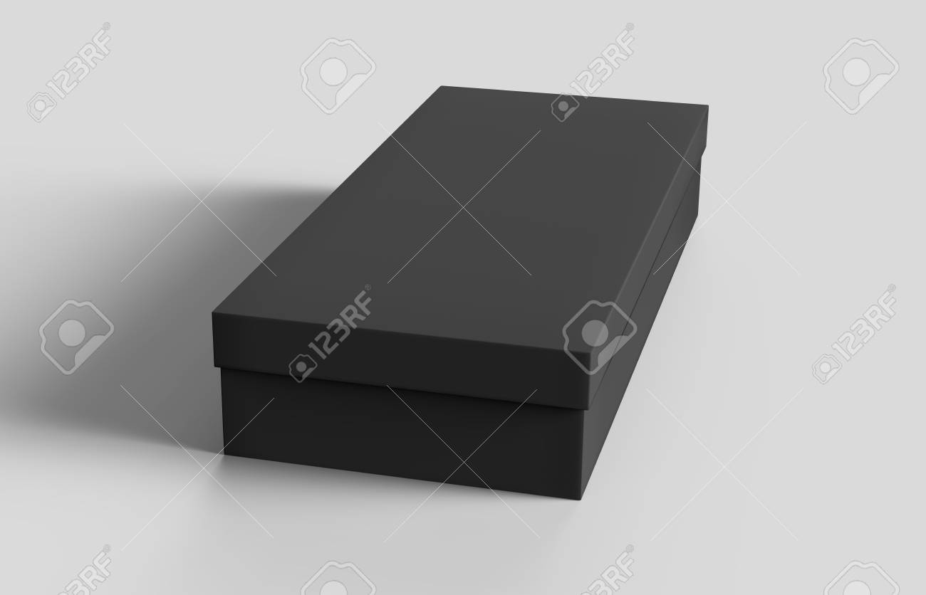 flat black box mockup blank box template isolated on grey in 3d rendering stock photo