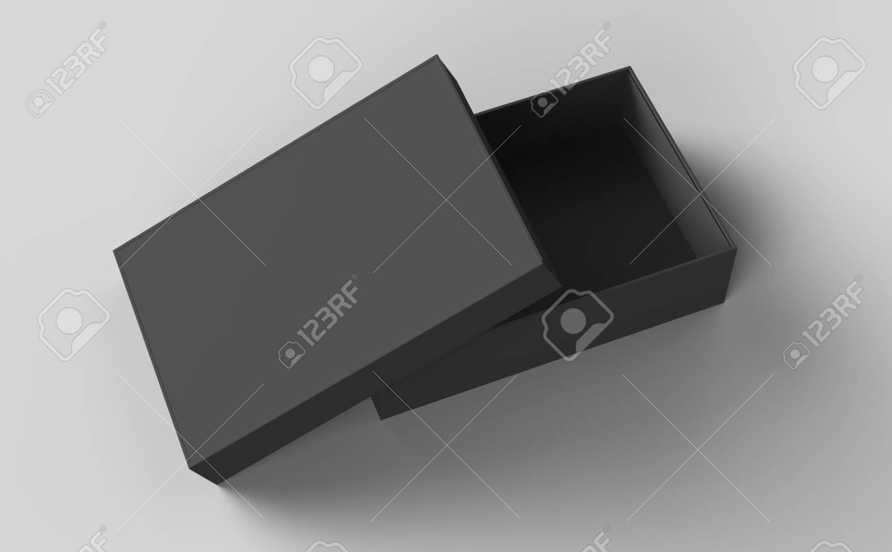 Flat Black Box Mockup Blank Box Template Isolated On Grey In
