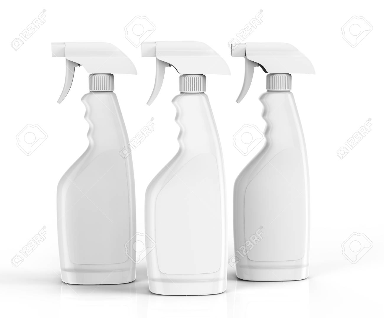 5d87c476d04f Glass cleaner mockup, blank white spray bottle set with label..