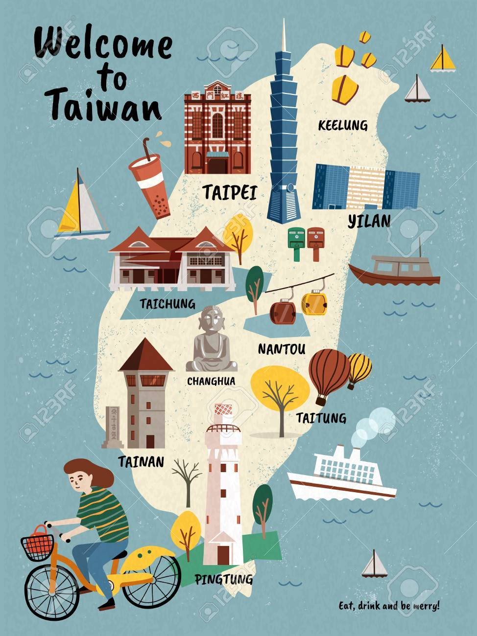 Taiwan Travel map, hand drawn style attractions and specialties with girl riding a bike - 86920298