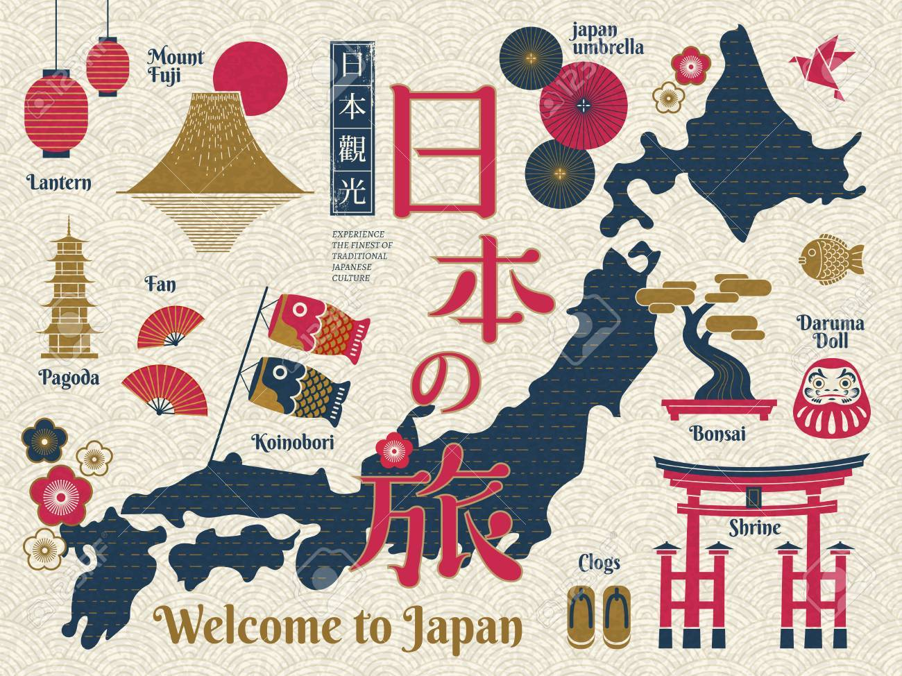 Traditional Japan Travel Map Famous Culture Symbols And Landmarks