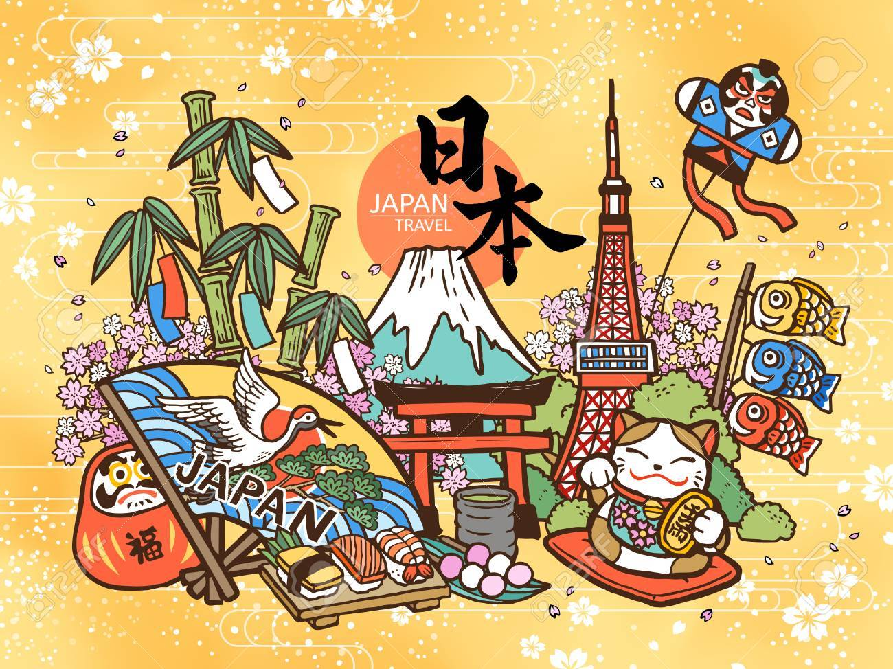 Lovely Japan travel concept, cute hand drawn style with famous attractions and symbols, Japan country name and fortune in Japanese on the daruma - 88968639