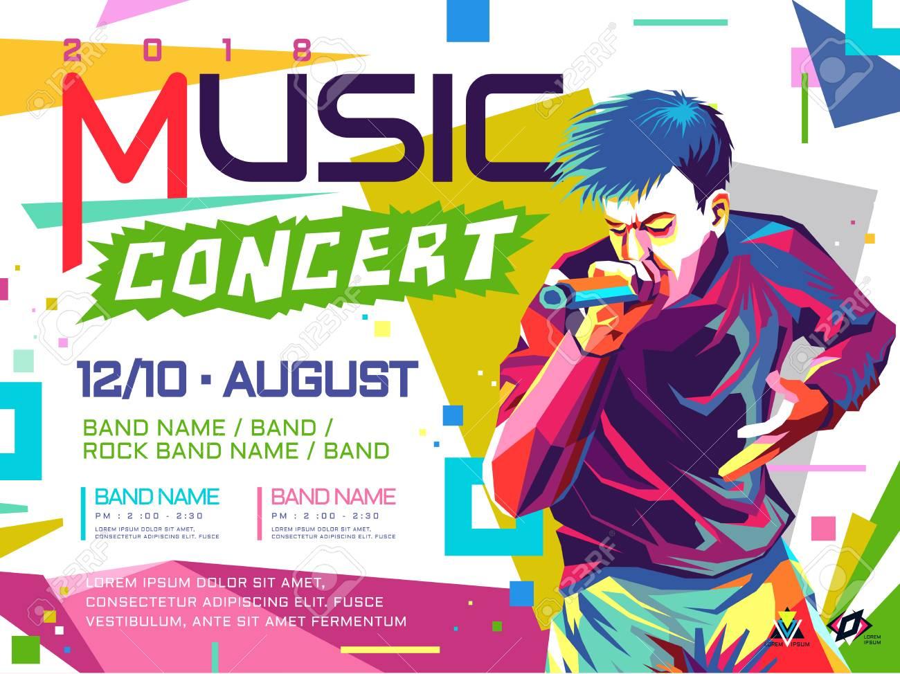 music concert poster pop art concept illustration