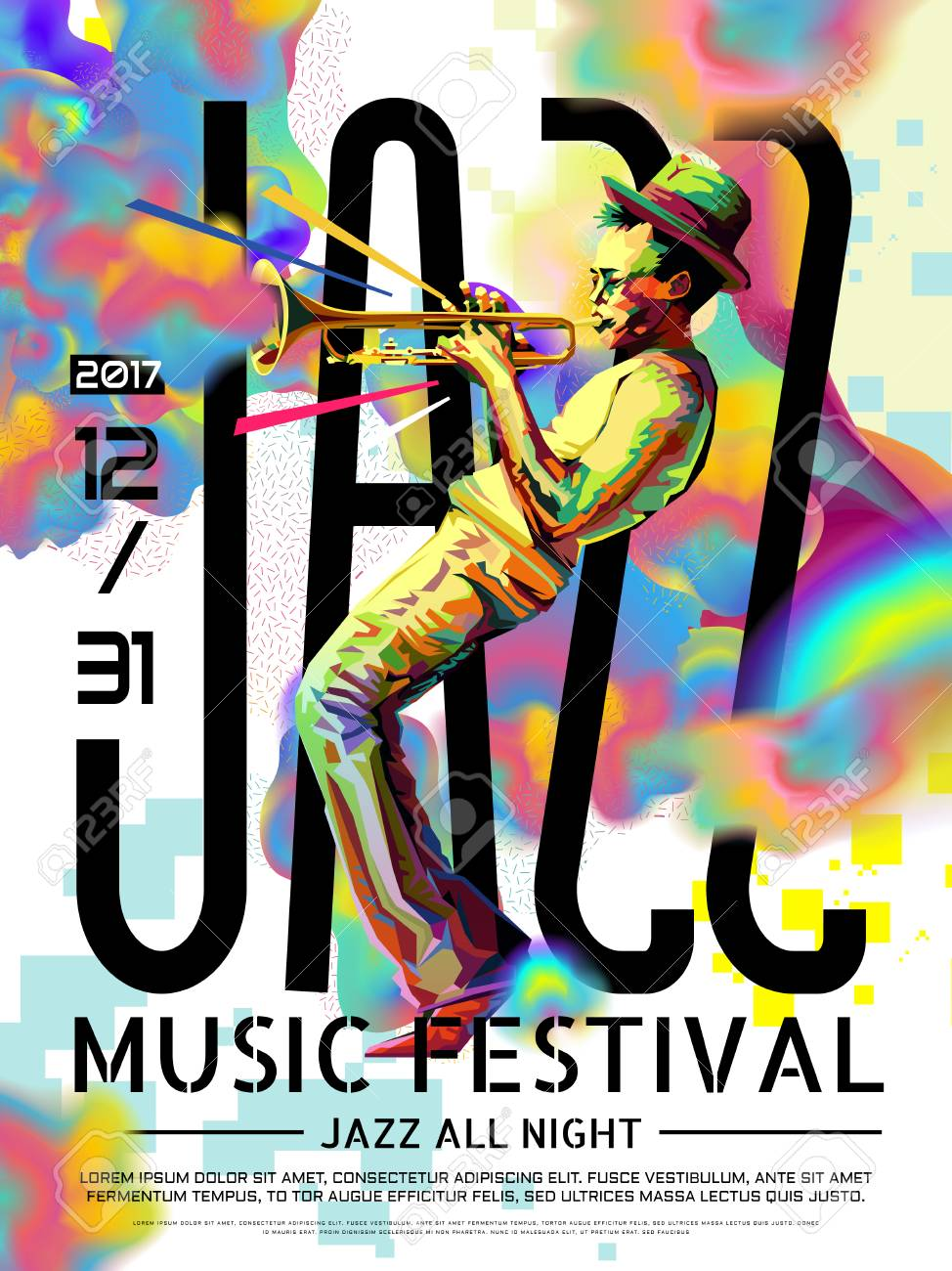 Jazz all night poster, music festival design in WPAP style, pop art portrait for trumpet performance - 92101758