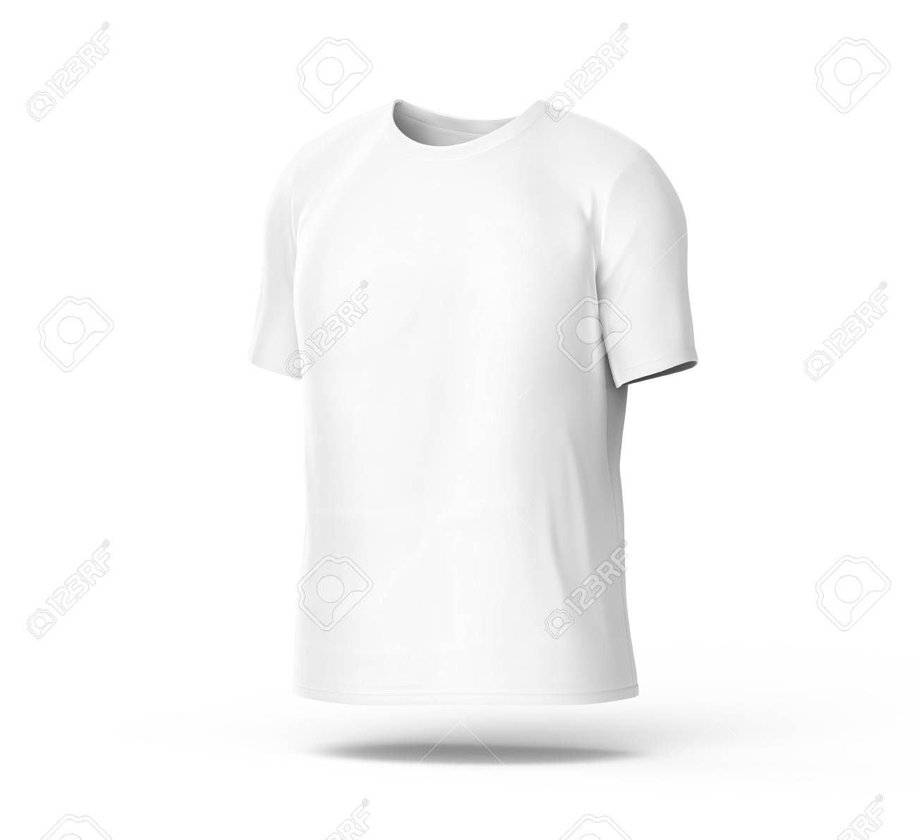 Crew Neck T Shirt Blank White Cloth Template For Men With Invisible Model Isolated