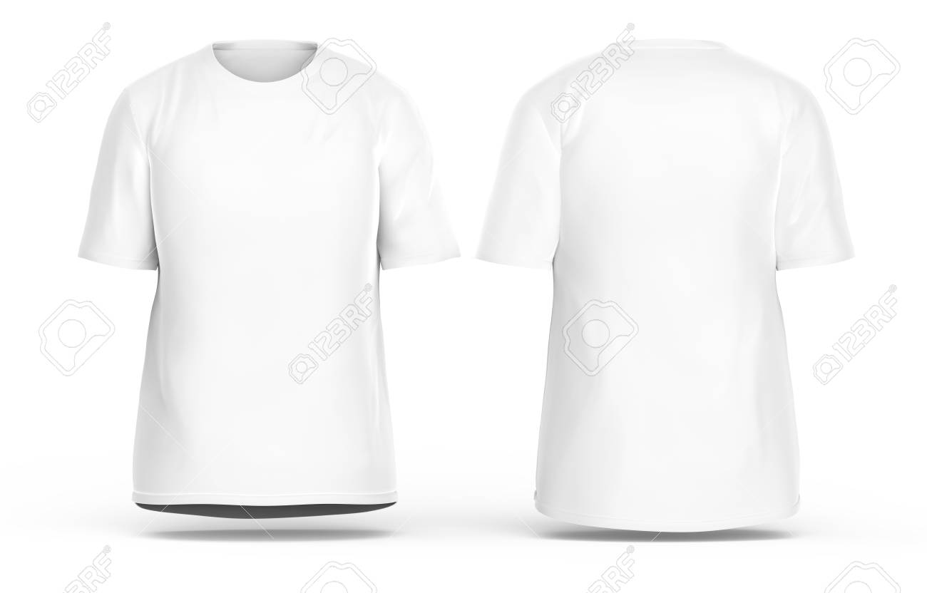 Crew Neck T Shirt Set Blank White Cloth Template With Invisible Model Isolated On
