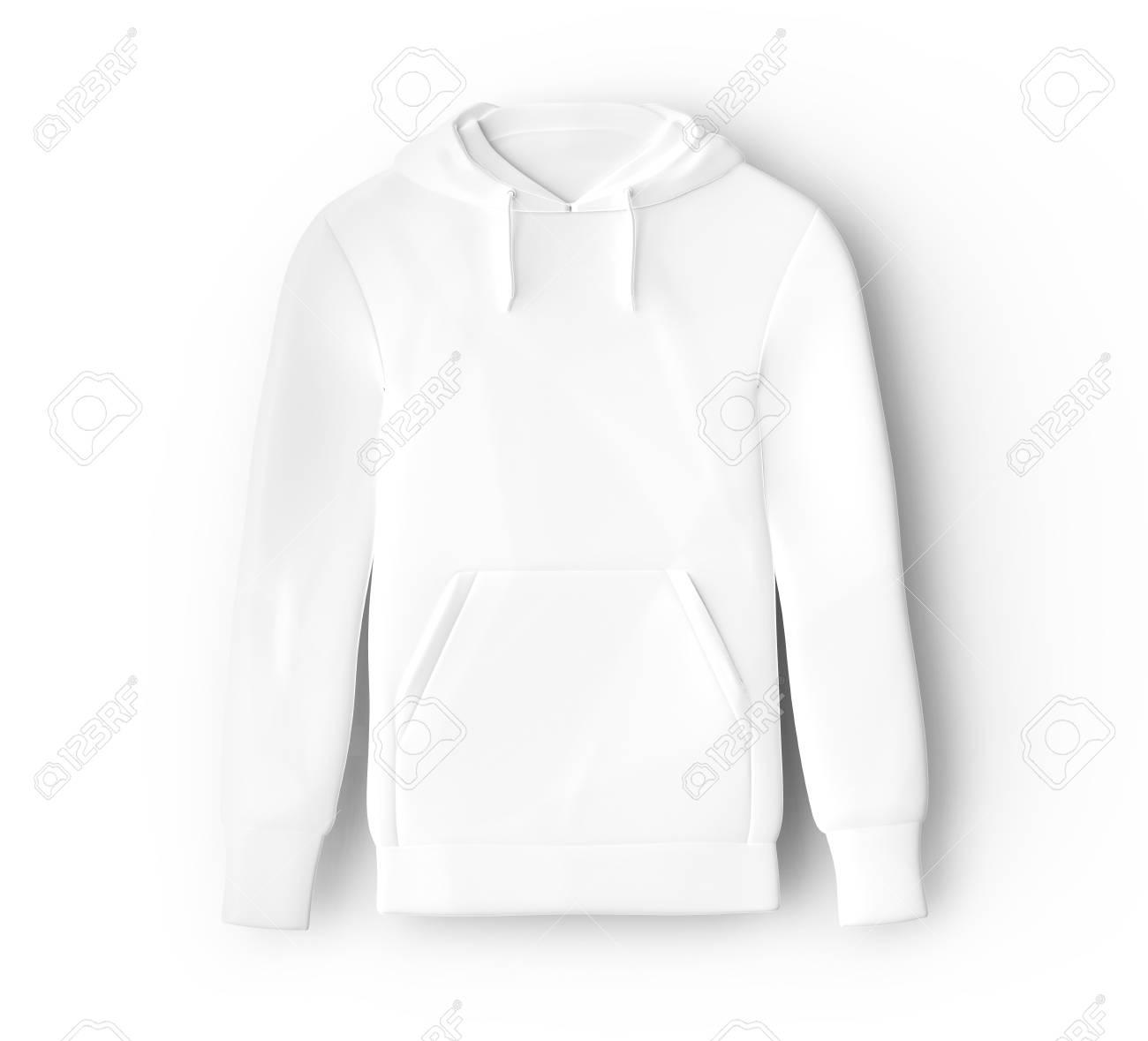 Hoodie Sweatshirt Mockup Blank White Cloth Template For Men Stock