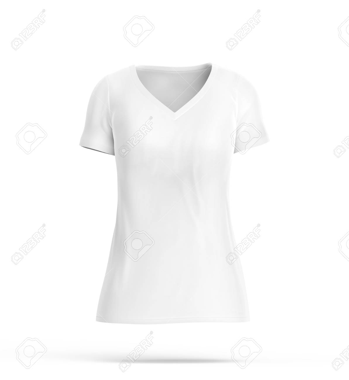 3c570d4321b1 Stock Photo - V neck T-shirt, blank white cloth for women with invisible  model isolated on white background, 3d render