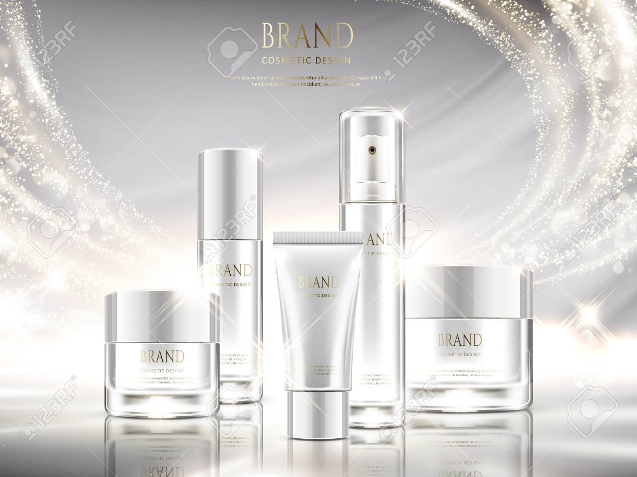 Pearl white skincare ads, cosmetic package design set with glittering light effect in 3d illustration - 94128732