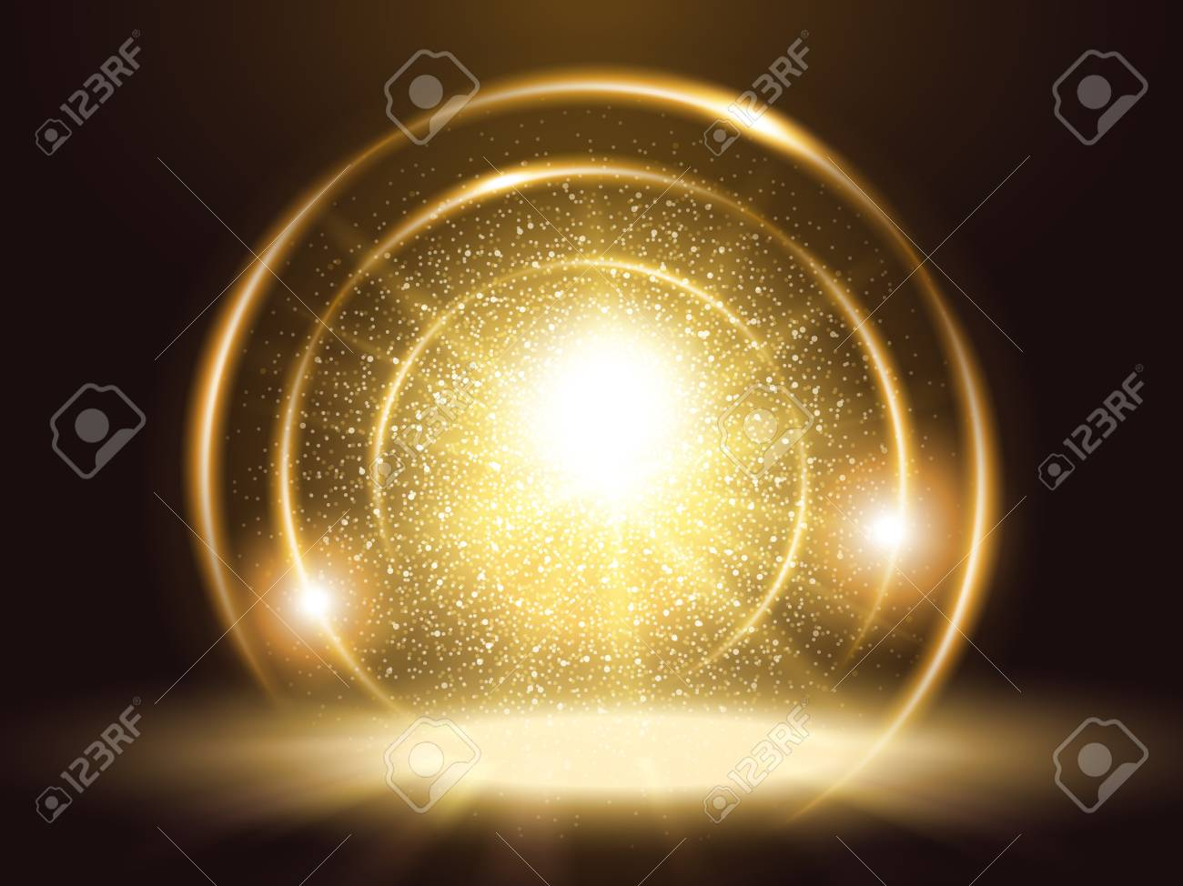 Sparkling particles and rings, attractive golden color glitter element for design uses - 94128746