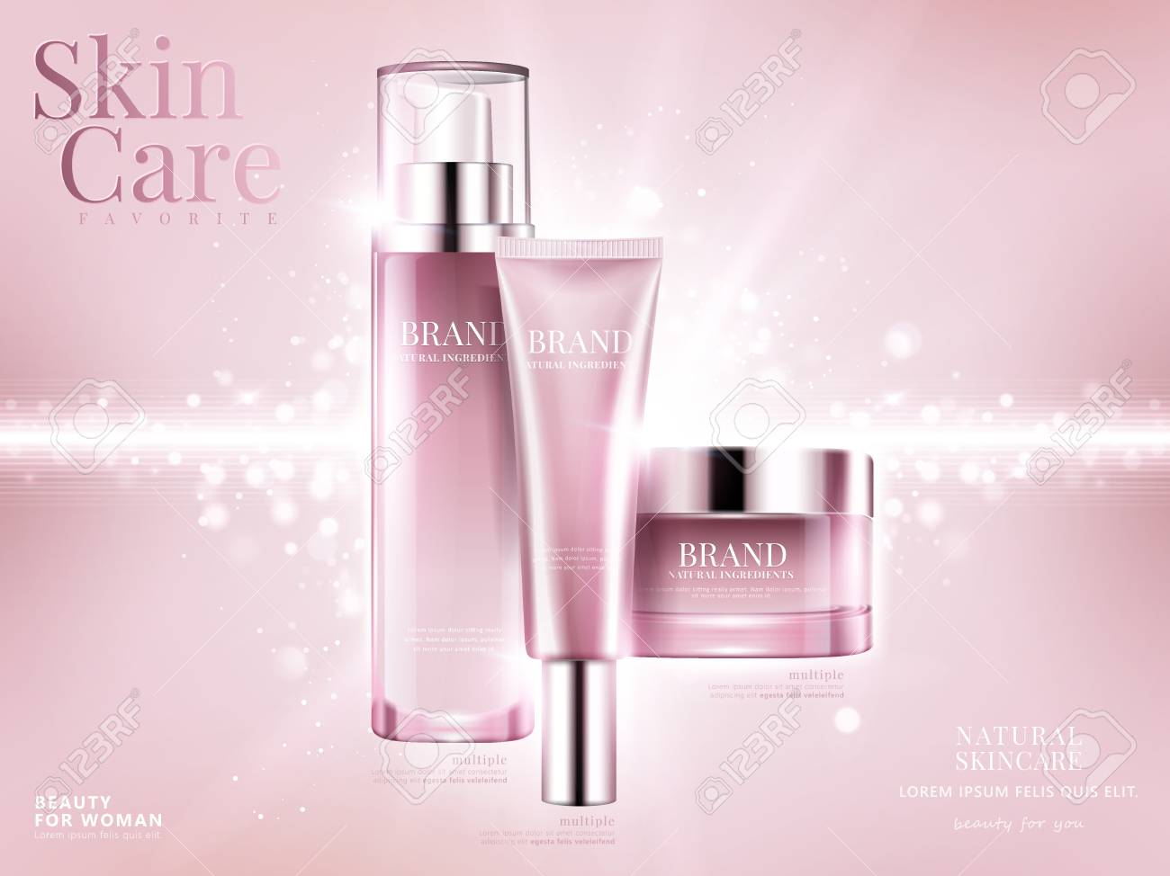 Cosmetic set ads, light pink package design on pink background with glittering bokeh elements in 3d illustration - 94128917