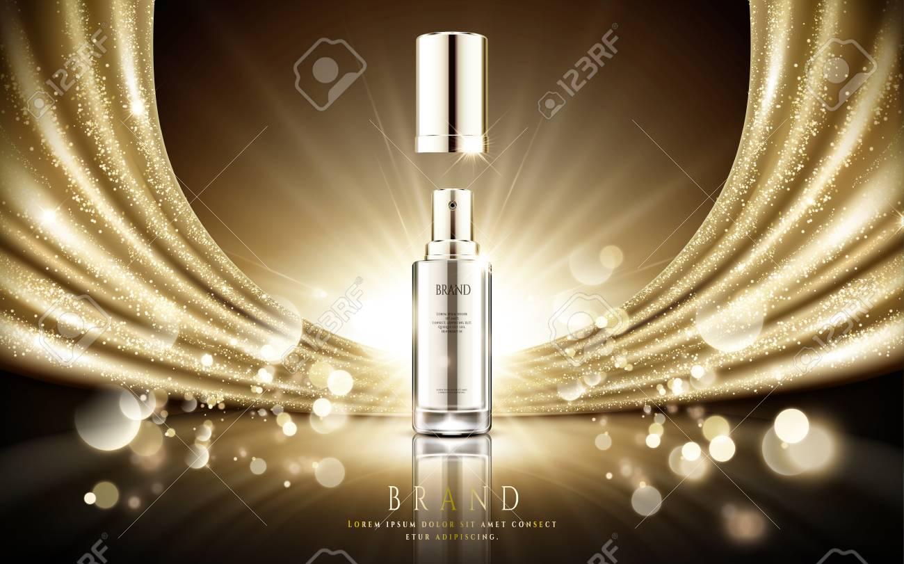 1e0bbcb049ea Botella de spray de plata de plata cosmética elegante elegante con  brillante oro satinado y el