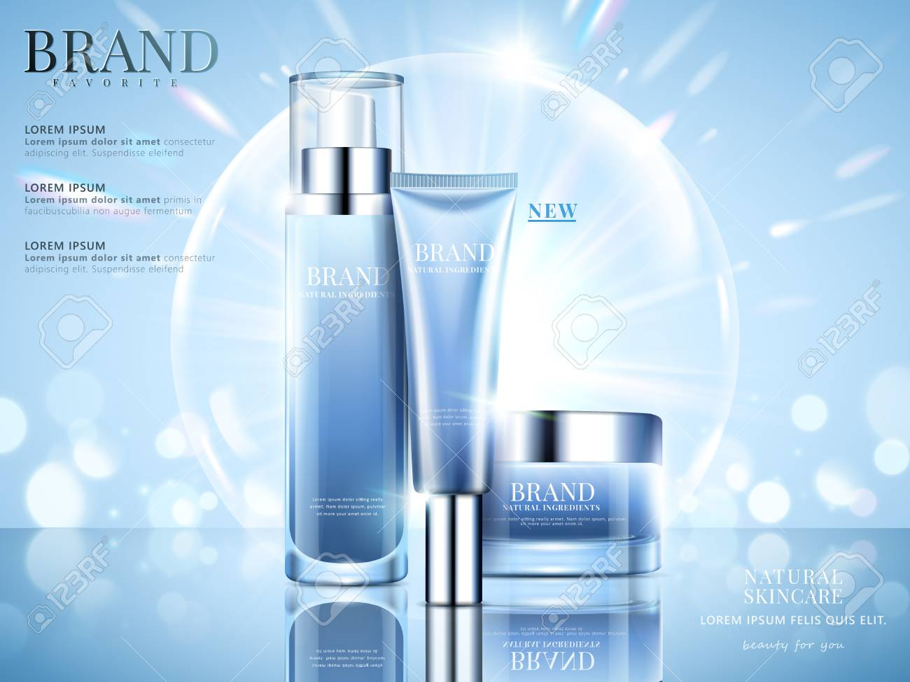 Cosmetic set ads, sky blue package design on light blue background with glittering bokeh and bubbles in 3d illustration - 94128493