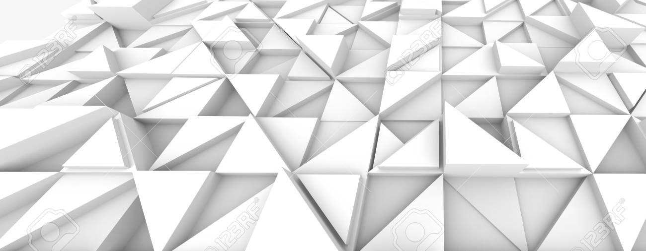 Geometric Triangle Background White 3d Render Relief Wallpaper