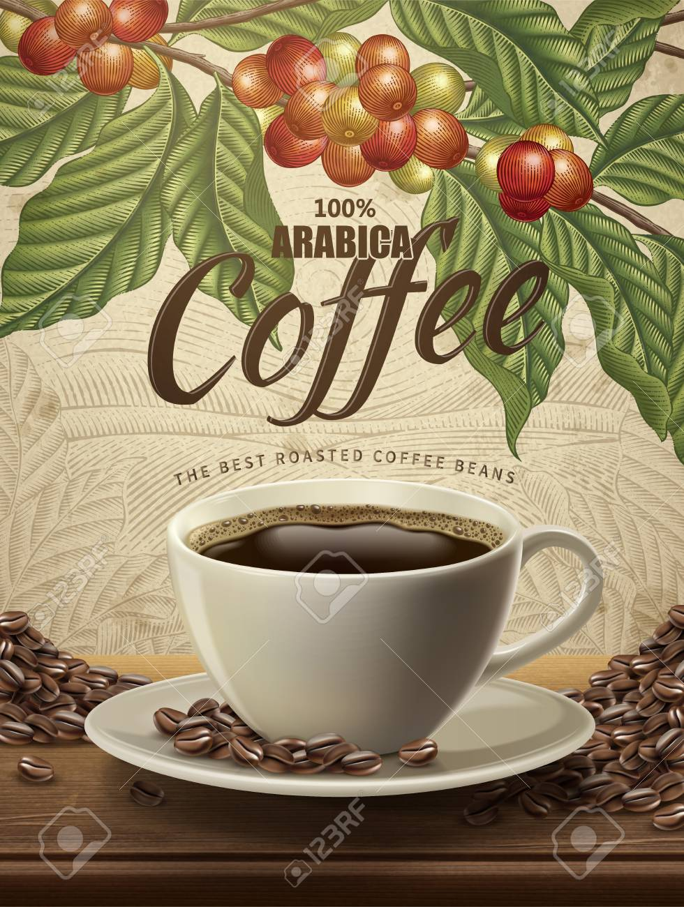 Arabica coffee ads, realistic black coffee and beans in 3d illustration with retro coffee plants and field scenery in etching shading style - 95737711