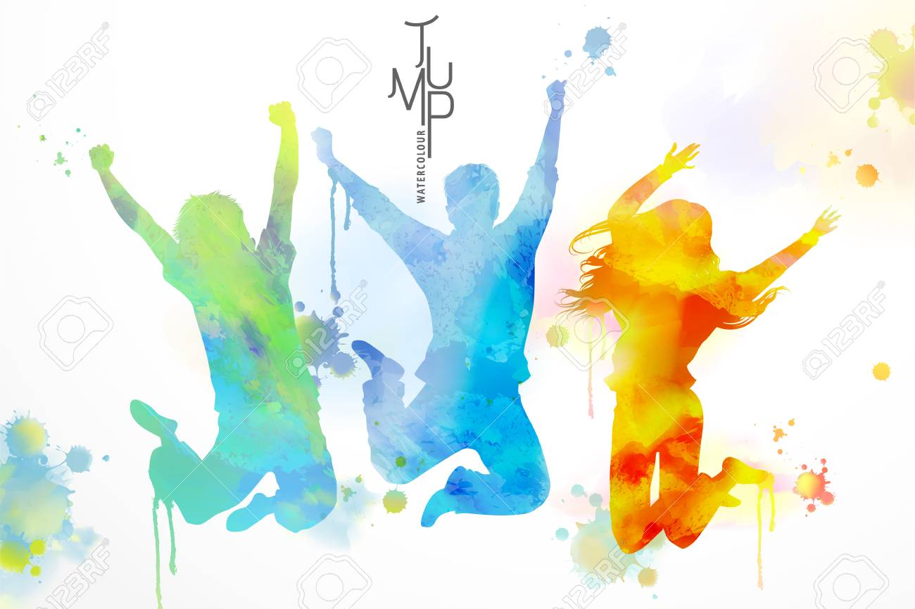 Watercolor jumping people, young boys and girls in victory pose with watercolor paint strokes - 95737878