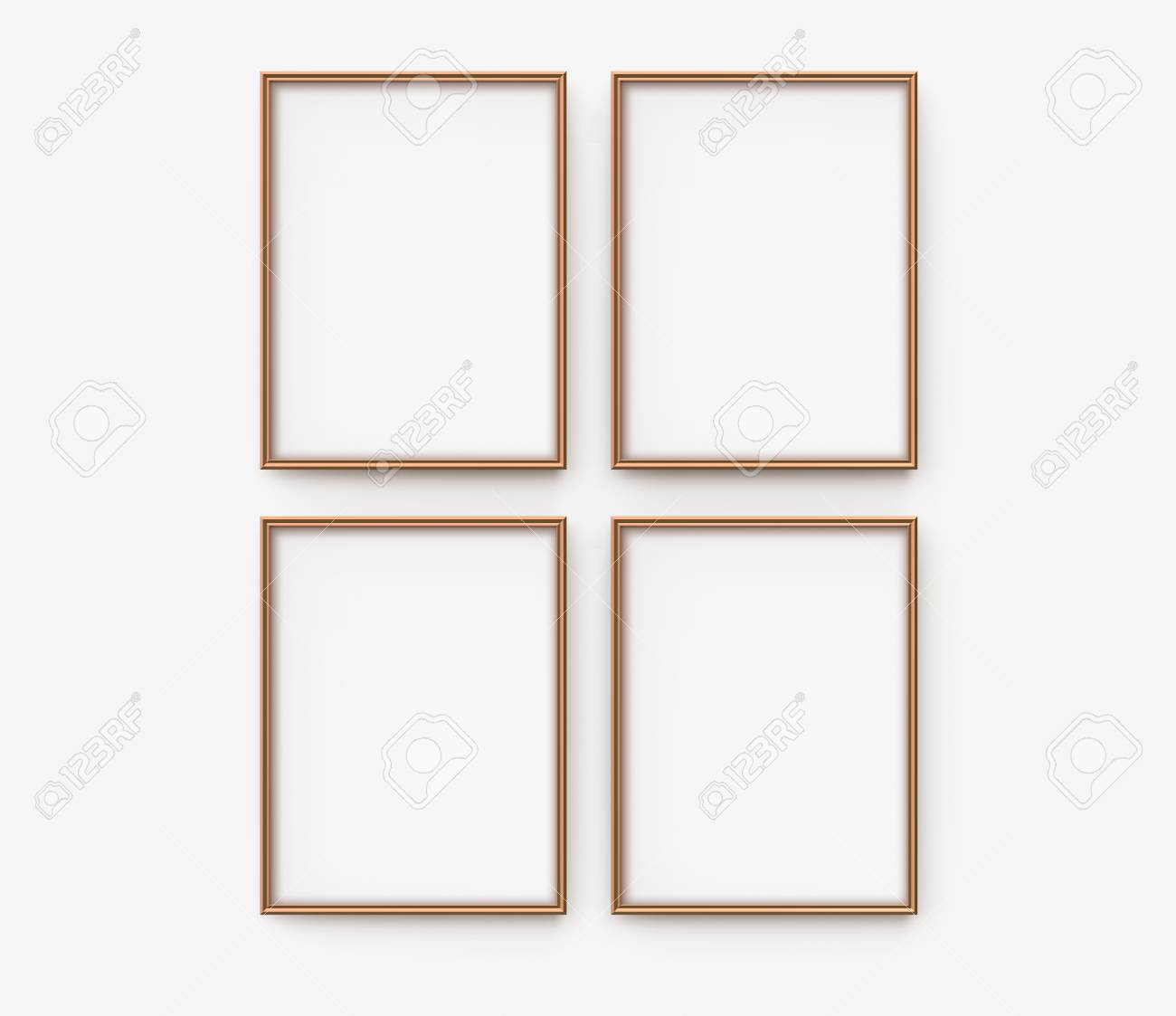 Beau Stock Photo   Wooden Picture Frame, 3d Render Blank Thin Frames Collection  With Empty Space For Decorative Uses