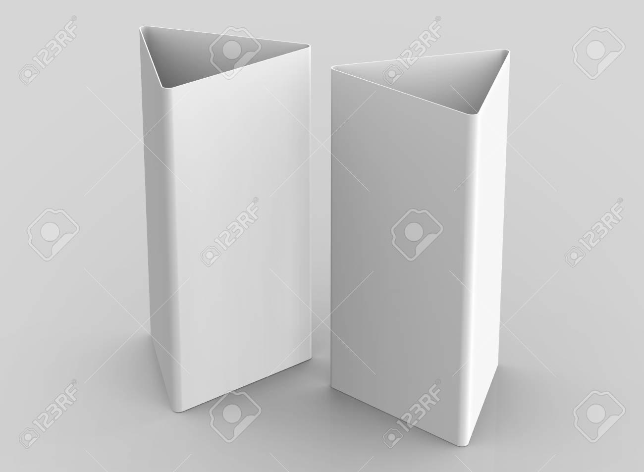 Blank Table Tent 3d Render Card Set Mockup For Design Uses Triangular Paper