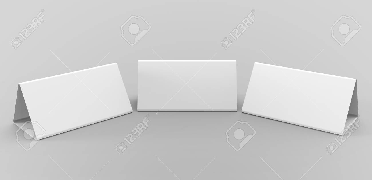 blank table tent 3d render table card set mockup for design stock