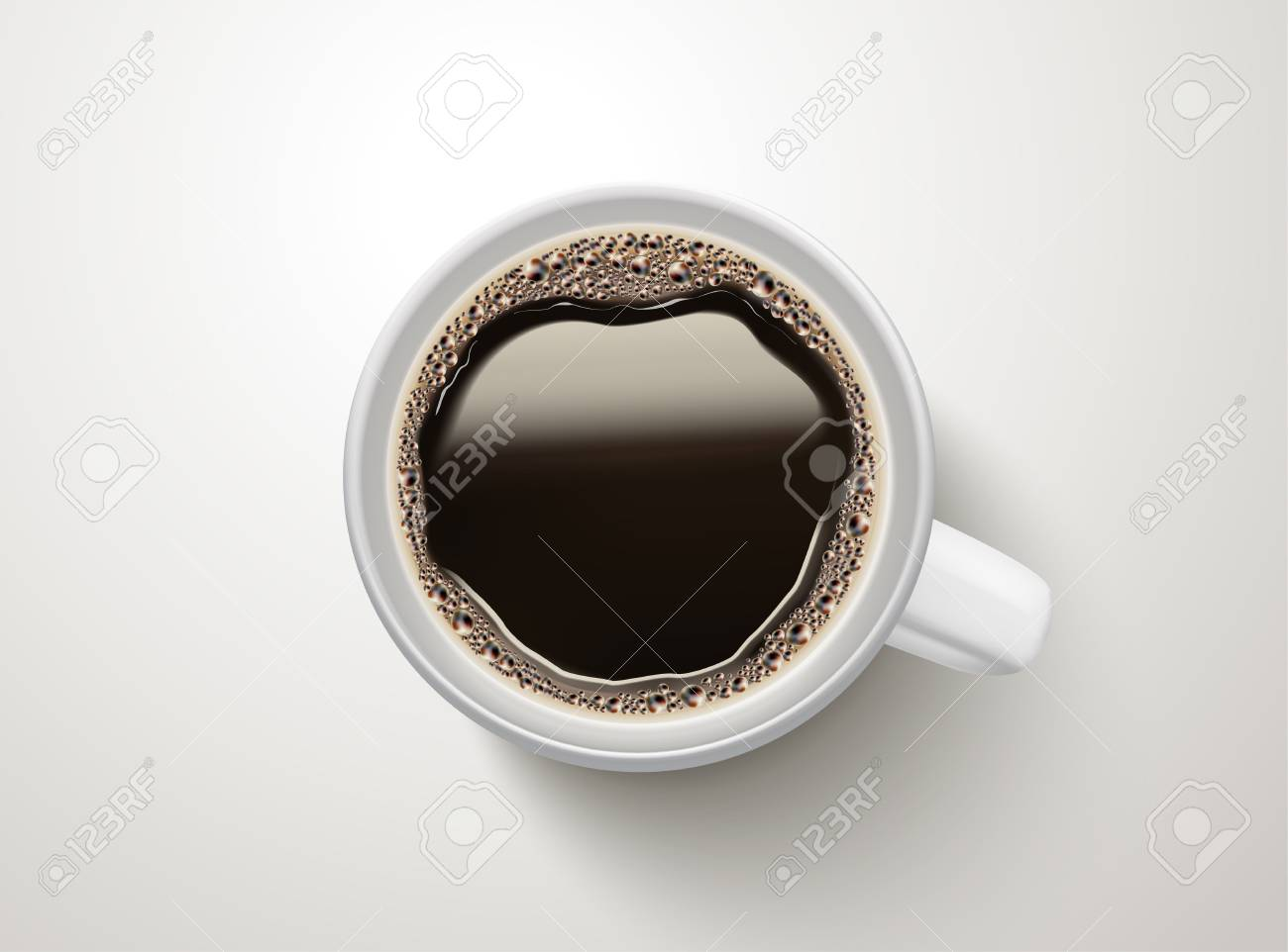 Top view of a cup of black coffee illustration - 98400469