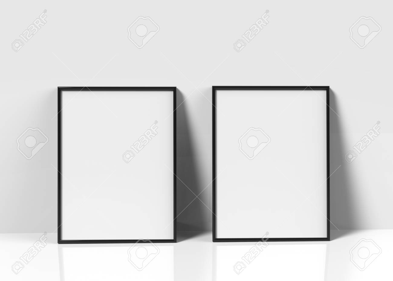 Charmant Black Picture Frames, 3d Render Thin Frames Set With Empty Space For  Decorative Uses,