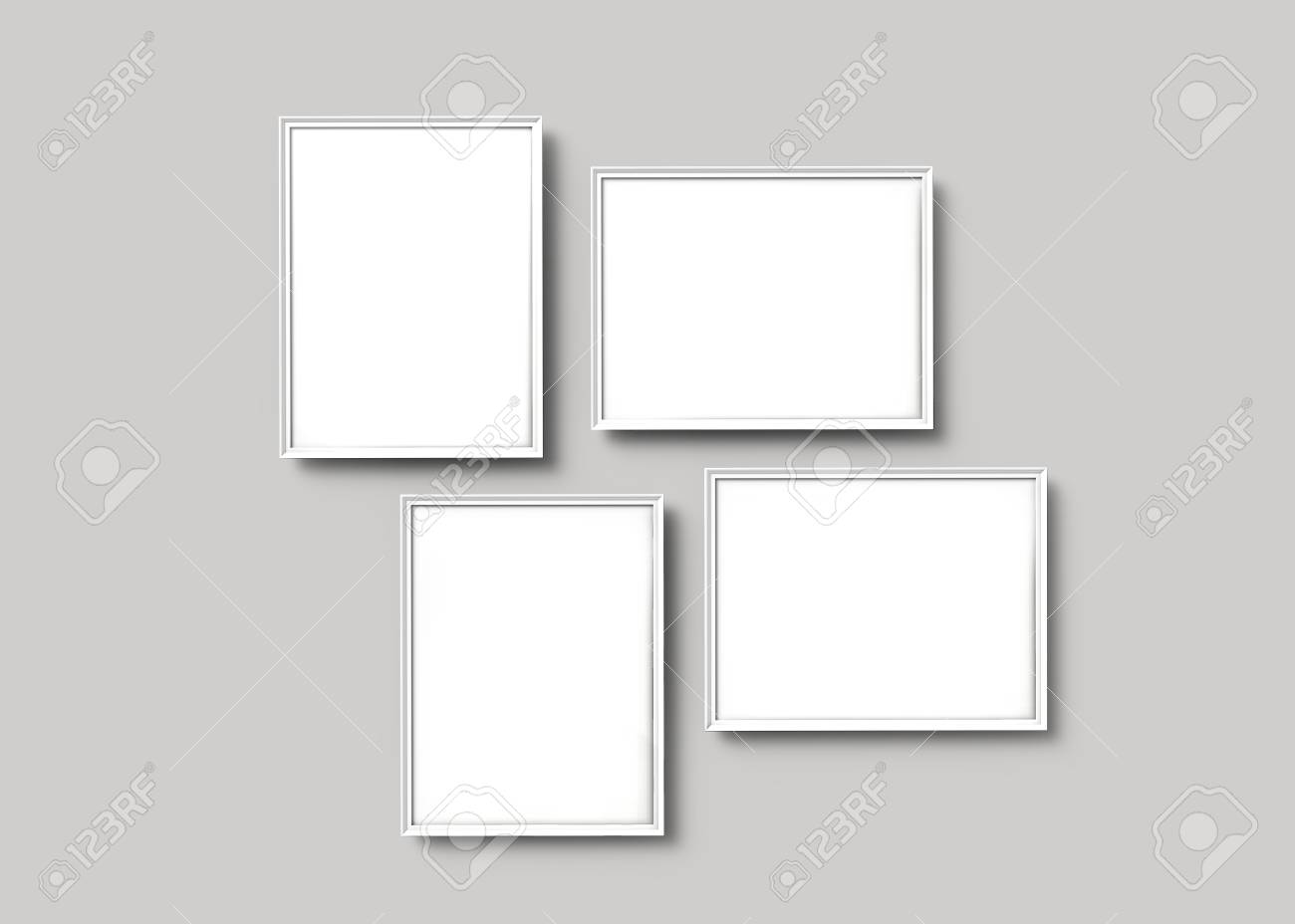 Superieur Stock Photo   White Picture Frames, 3d Render Thin Frames Set With Empty  Space For Decorative Uses