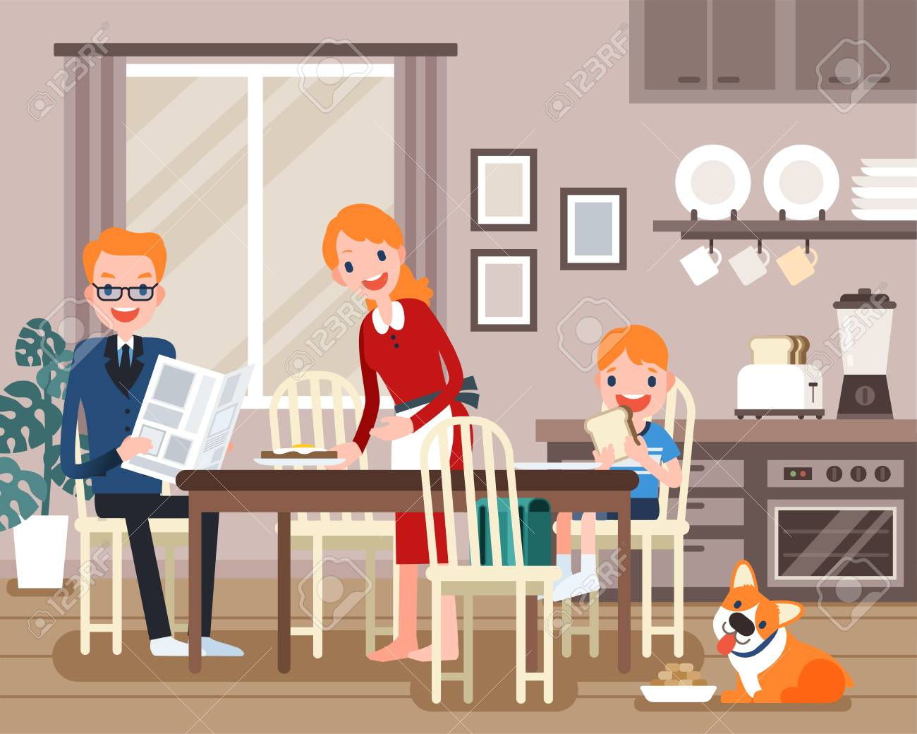Lovely family characters having breakfast together in flat design - 100526202