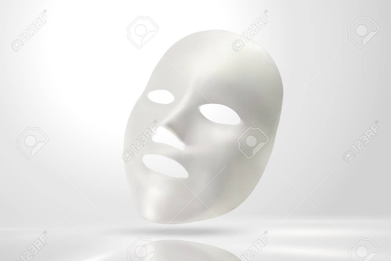 Facial mask mockup in 3d illustration on pearl white background - 101478370