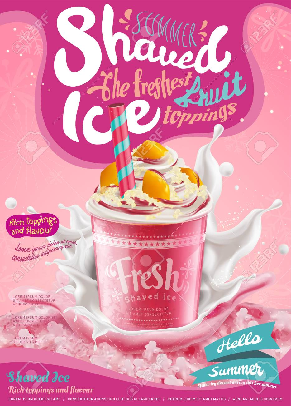 Strawberry ice shaved poster with splashing milk in 3d illustration, pink background with snowflakes - 103451997