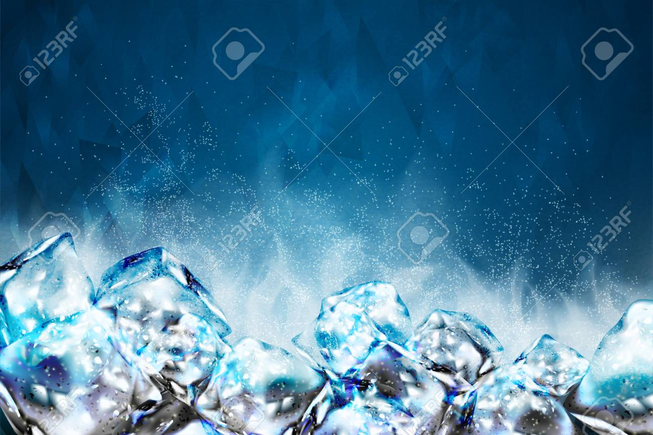 Frosty ice cubes background in blue tone, 3d illustration - 103452260
