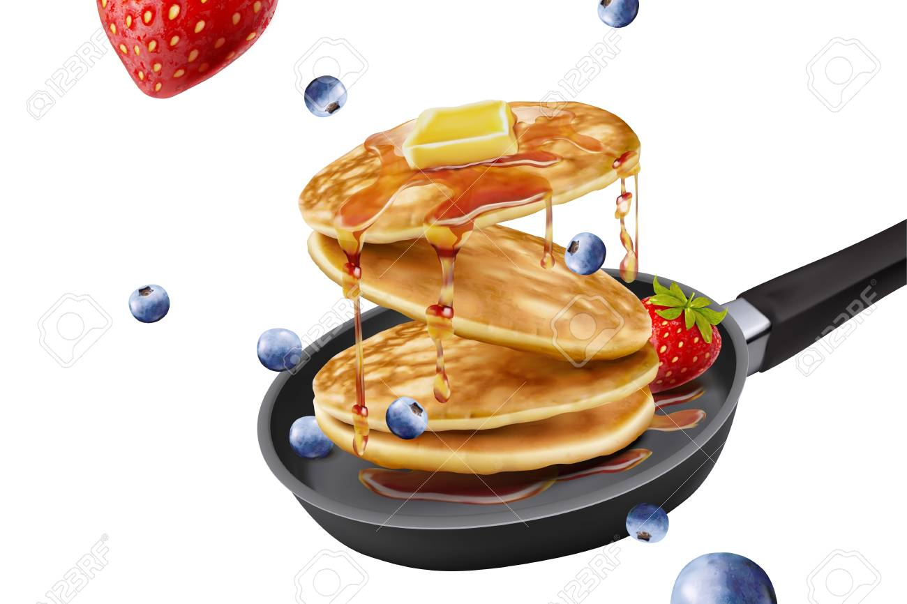 Delicious Fluffy Pancake In Frying Pan Fresh Fruit And Honey