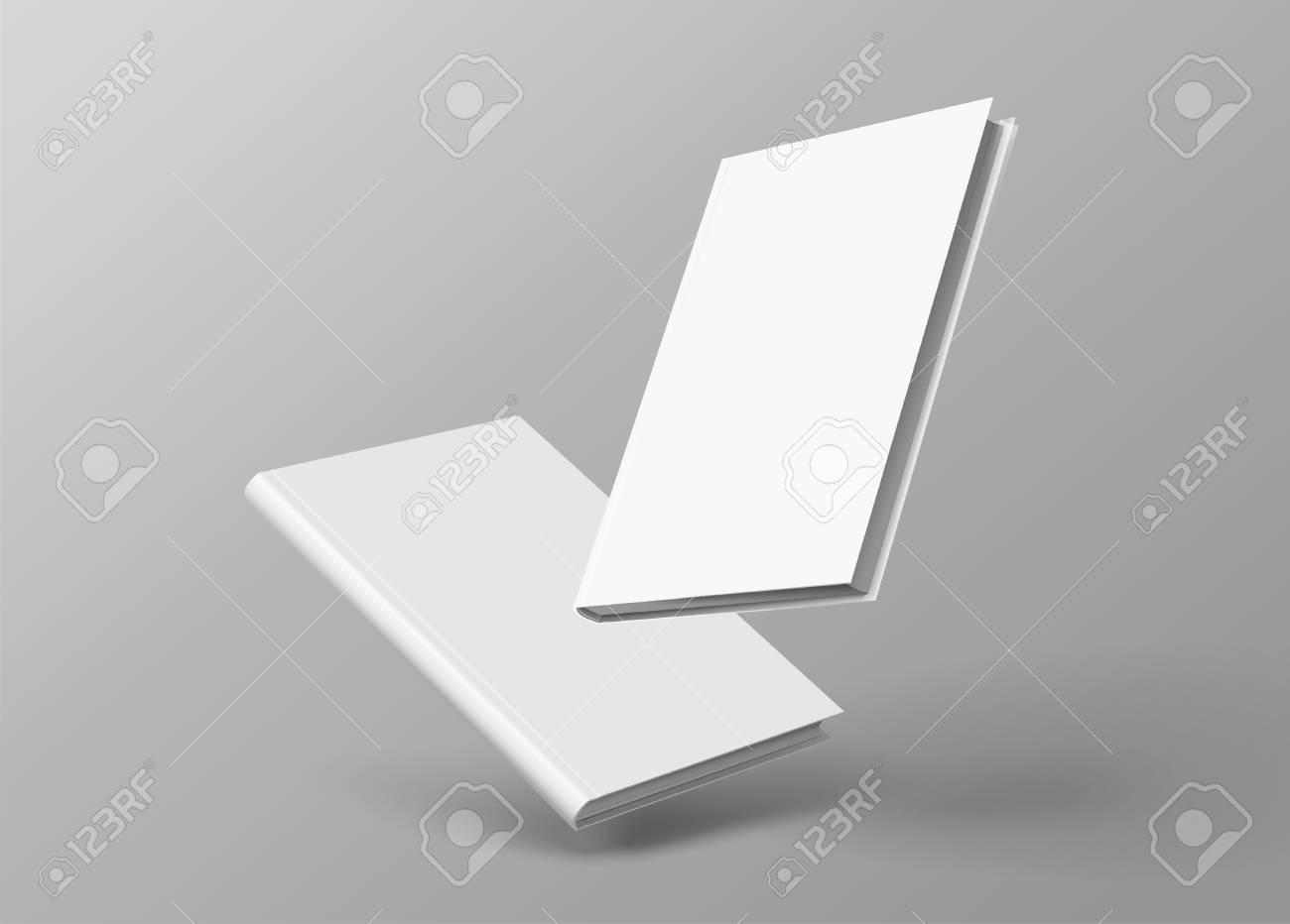 Hardcover books set floating on grey background in 3d illustration - 114831444