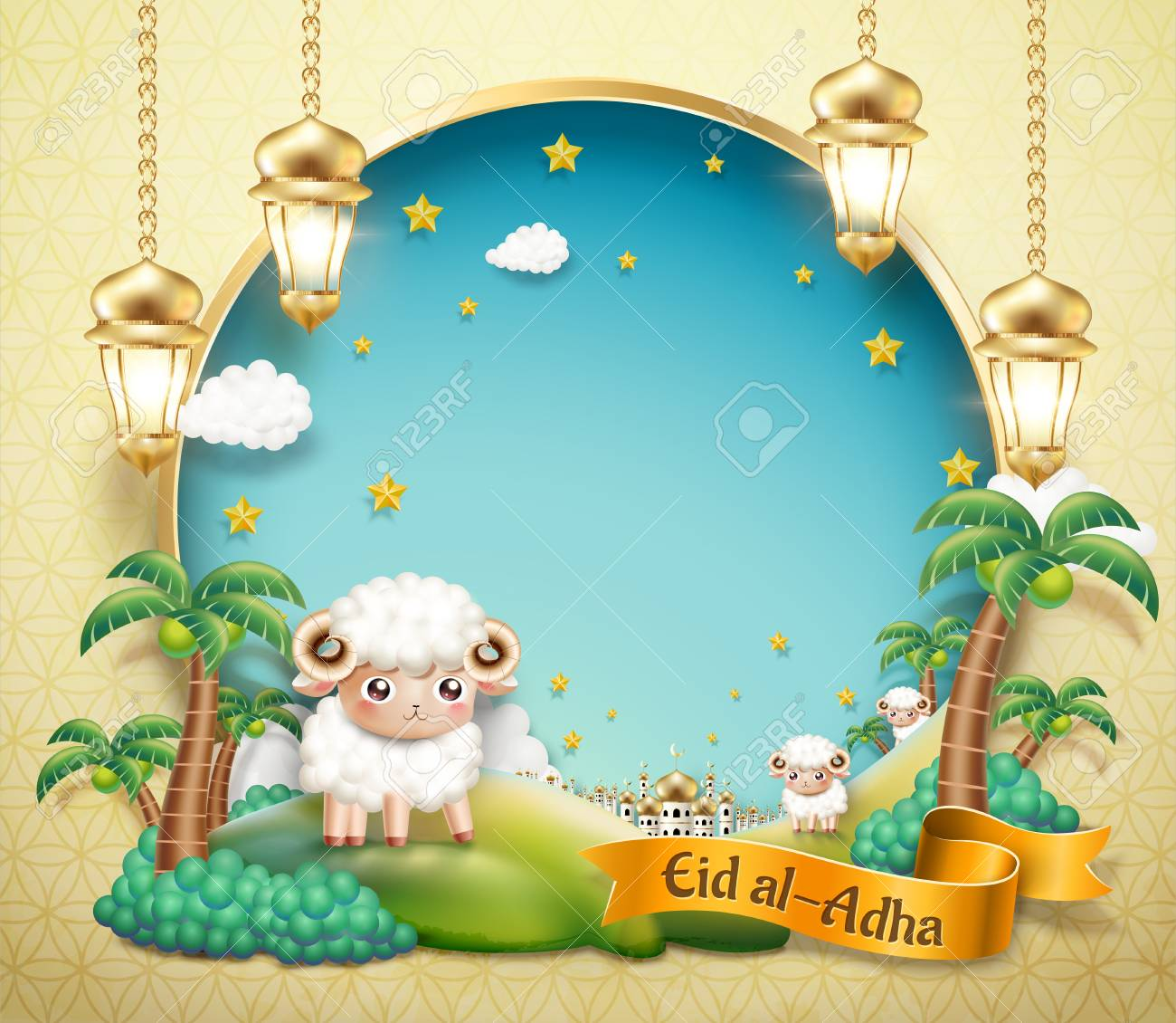 Eid Al Adha design with lovely sheep in oasis with blue sky copy space for greeting words in 3d illustration - 105556361