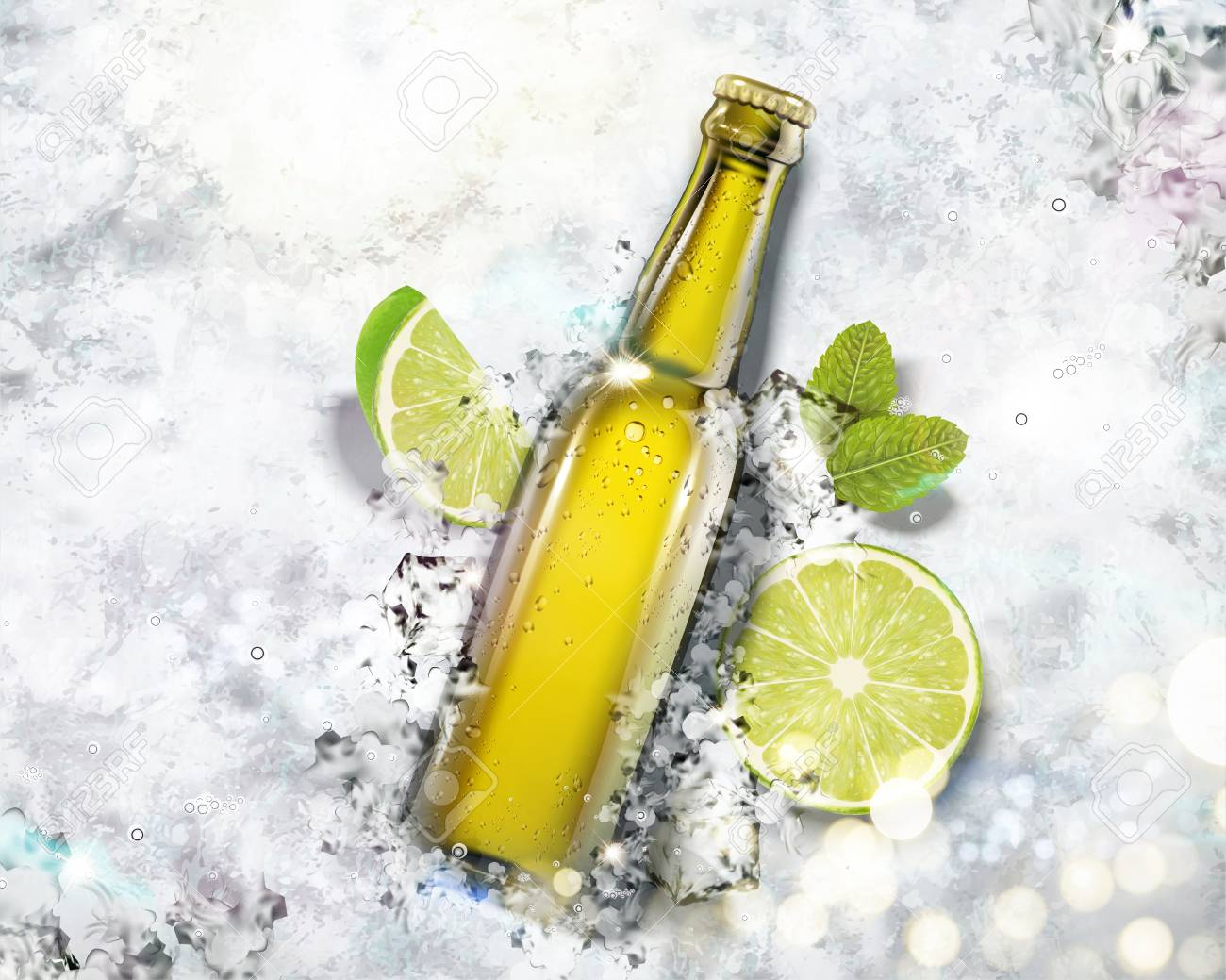 Beverage in glass bottle on crushed ice background in 3d illustration, top view angle - 111636665
