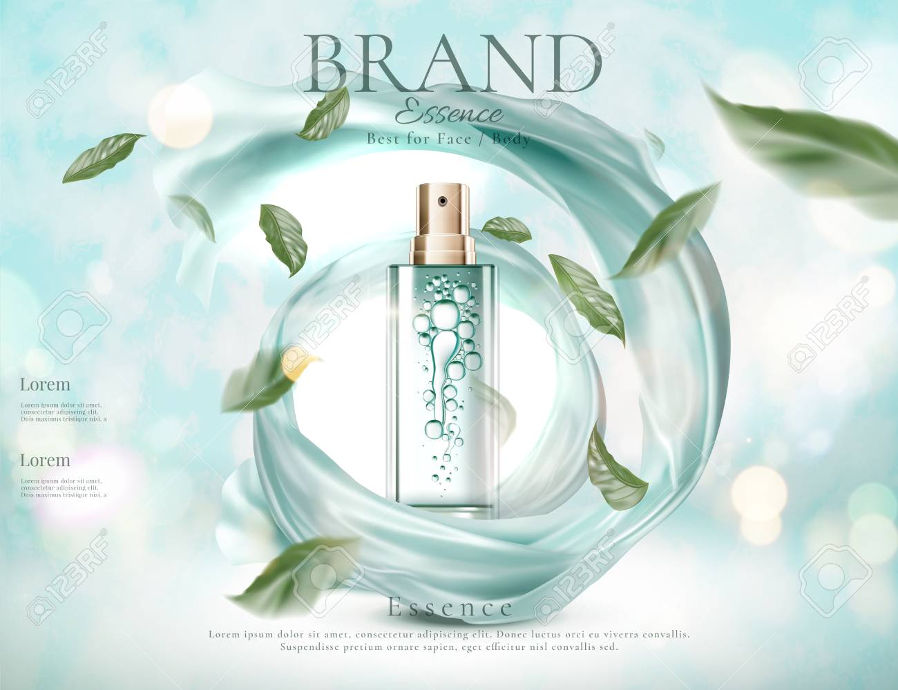 Refreshing skincare spray with flying green leaves and swirling satin in 3d illustration on light blue glitter background - 111636702