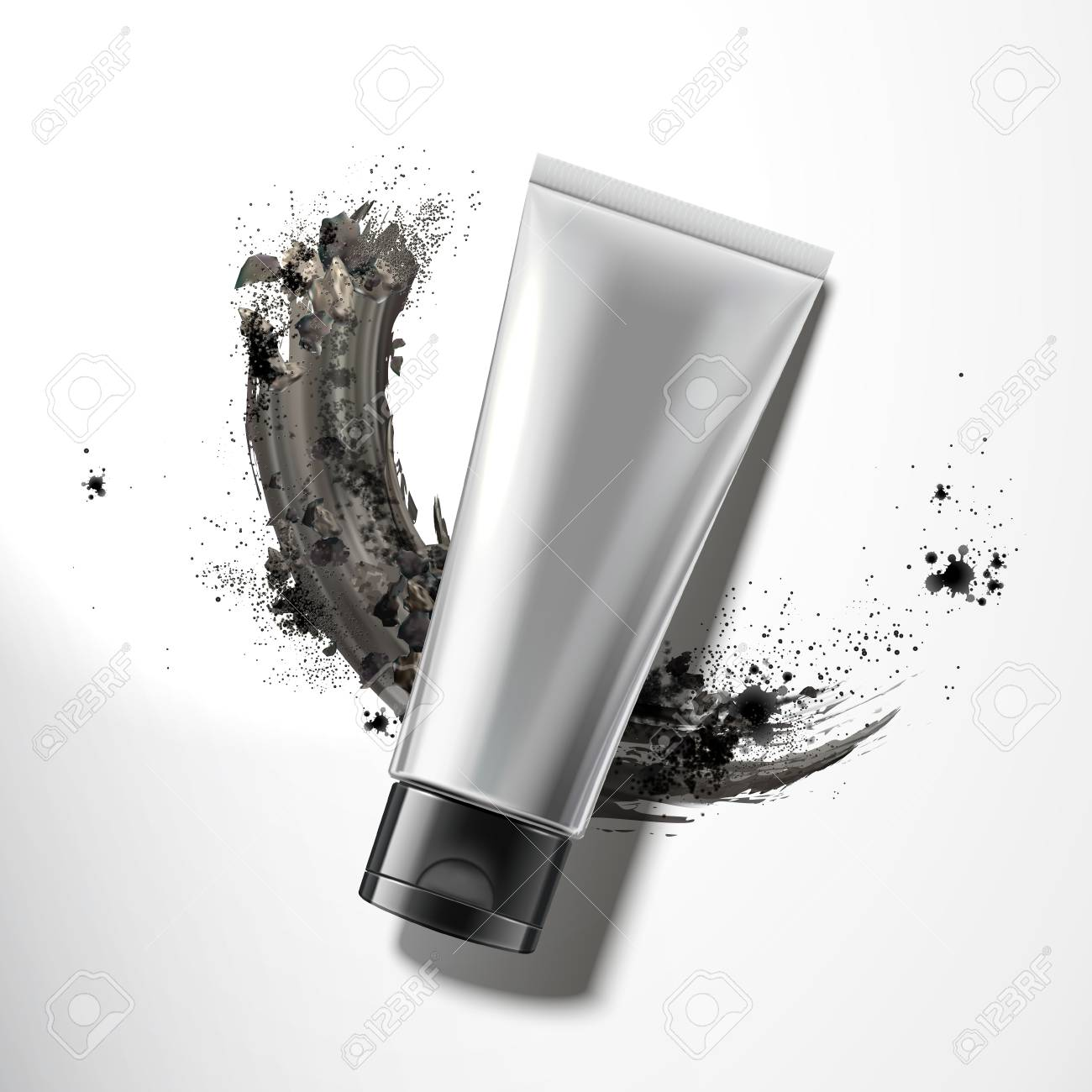 Blank plastic tube with smear charcoal powder in 3d illustration, top view - 109899943