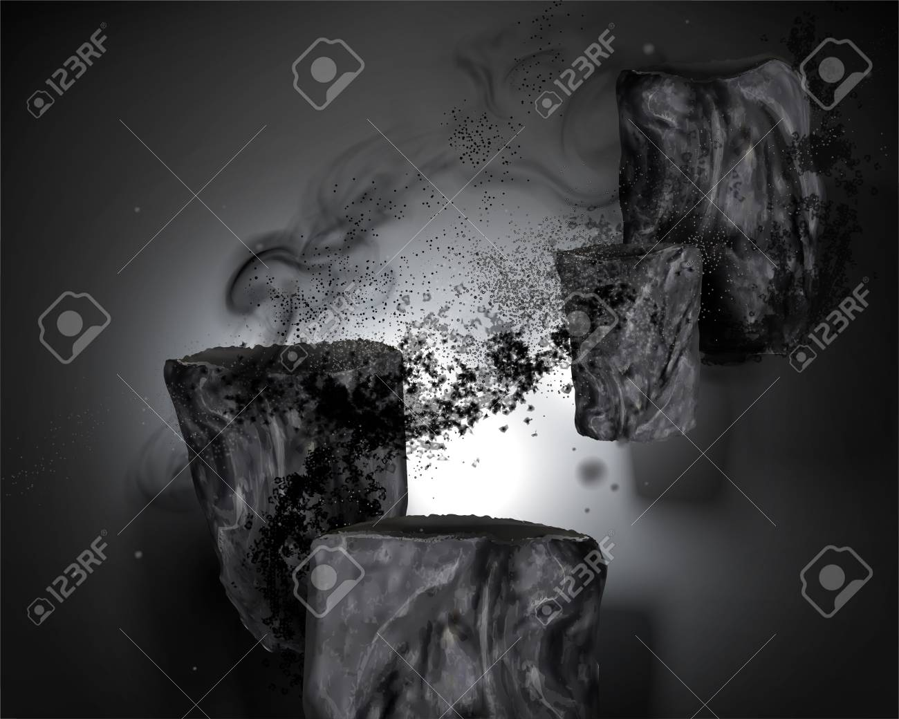 Bamboo charcoal elements with ashes in 3d illustration - 109899956