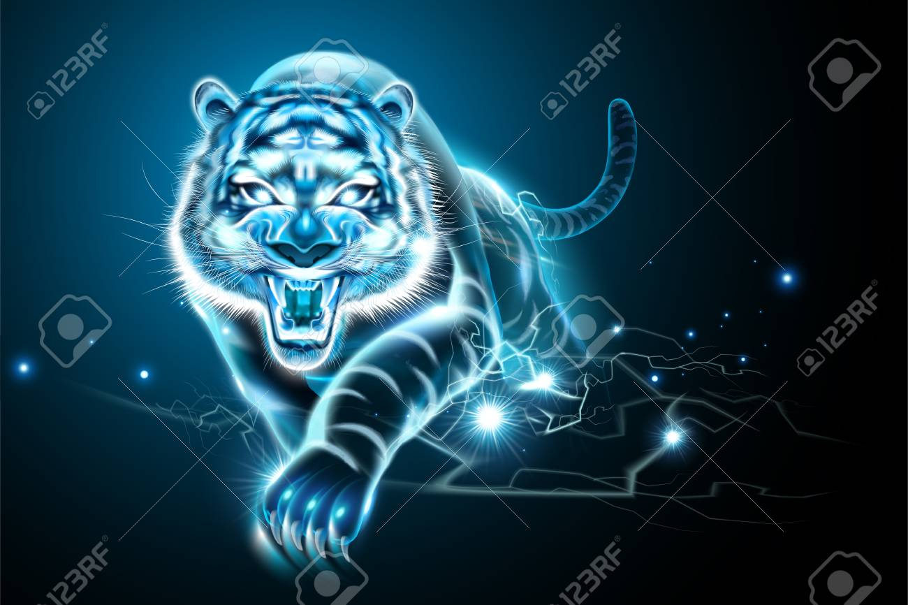 Vicious tiger with lightning effect in blue tone - 109899970