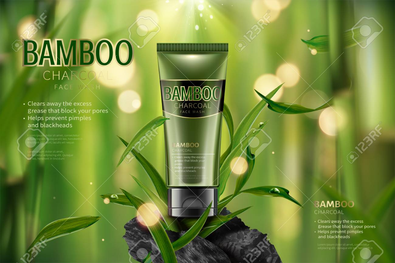 Bamboo charcoal face wash ads in 3d illustration, tranquil bamboo forest scene with leaves and carbon - 109899979