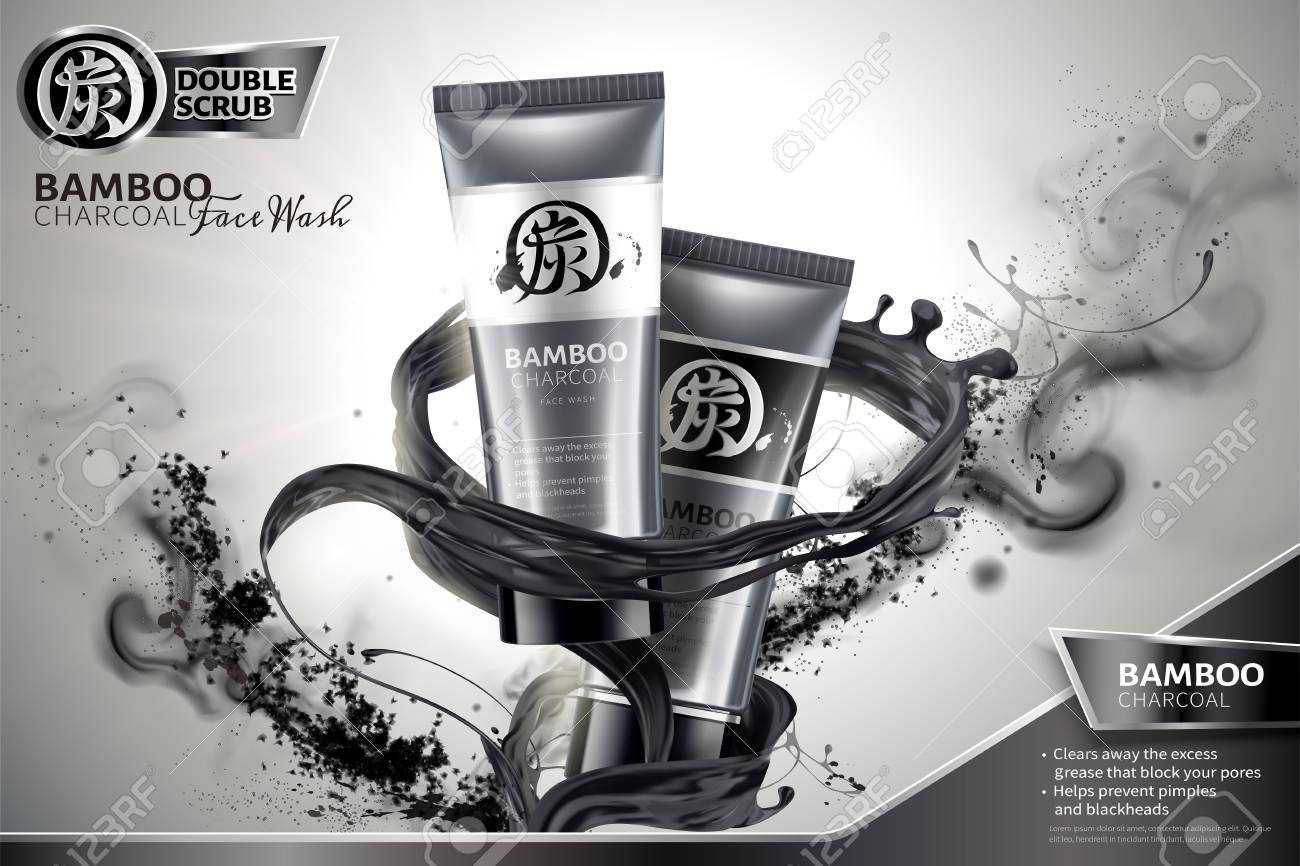 Bamboo charcoal face wash ads with black liquid and ashes swirling in the air in 3d illustration, Carbon in Chinese word on package and upper left - 109899996