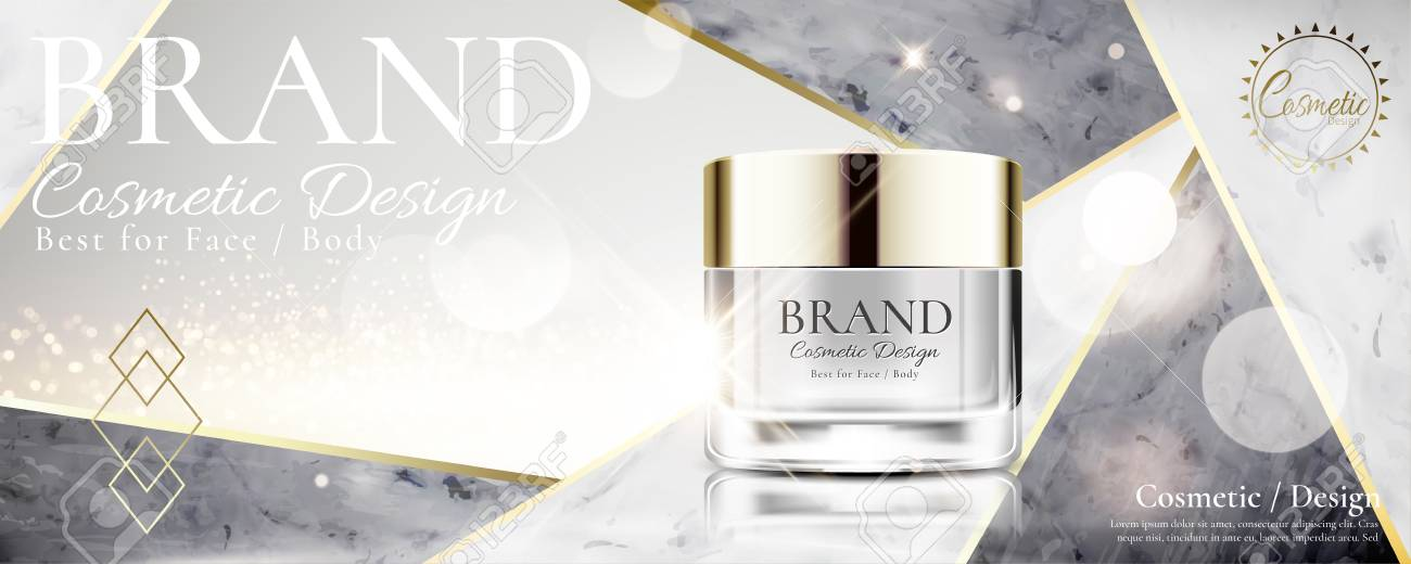 Cosmetic cream jar on marble stone and pearl white background in 3d illustration - 110821310
