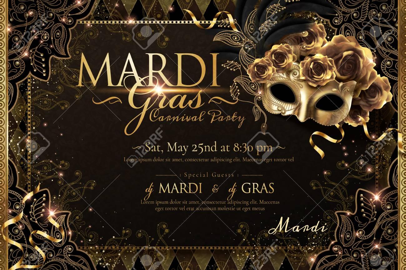Mardi gras carnival poster design with golden mask and roses in 3d illustration, sparkling background - 126093167