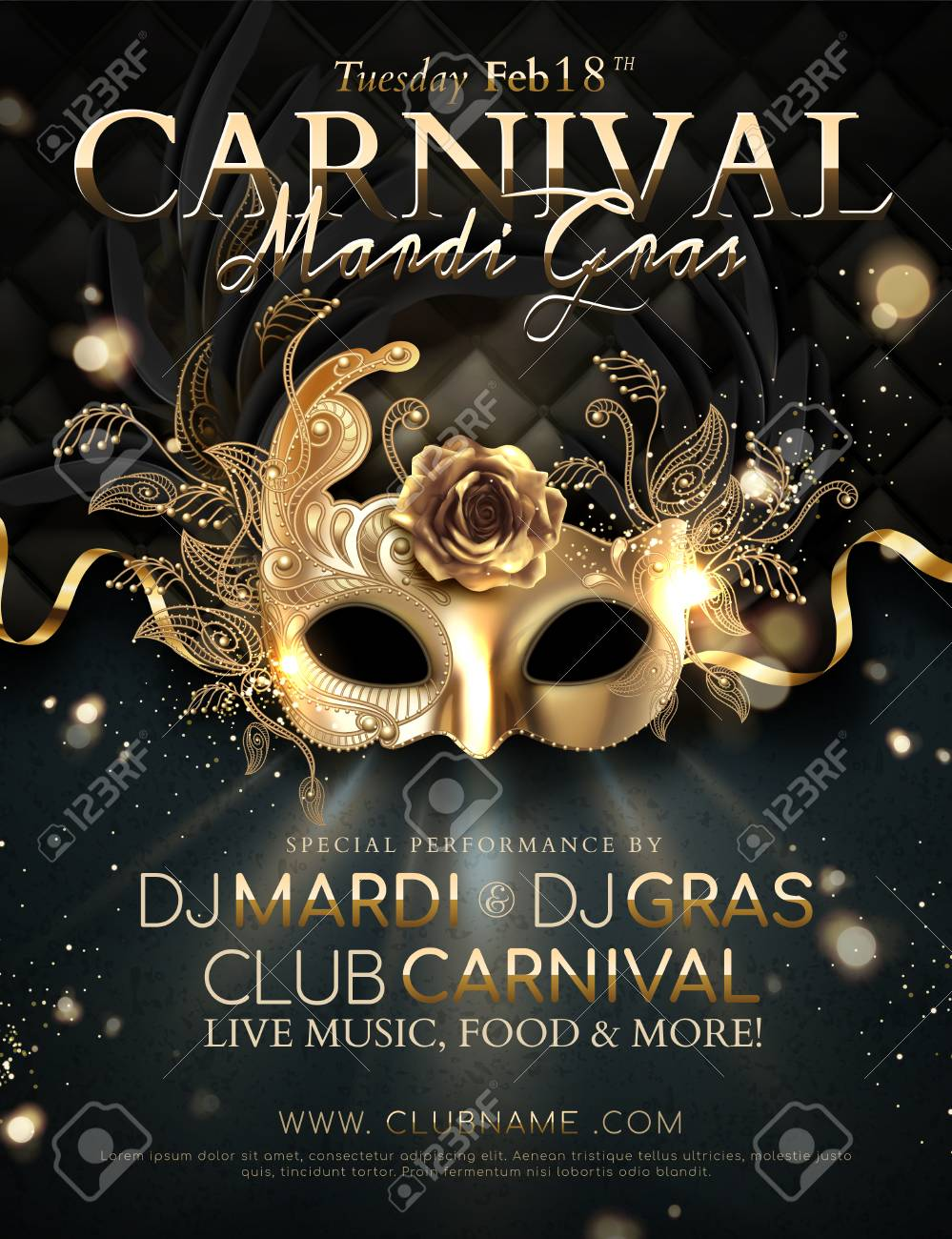 Mardi gras carnival poster design with golden mask and ribbons in 3d illustration - 115486718
