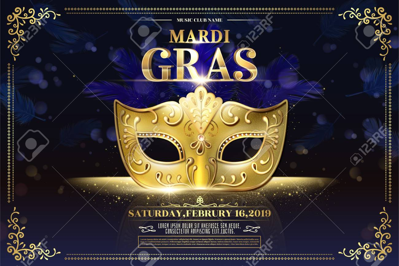 Mardi Gras party design with golden mask on glittering bokeh purple background - 126093193
