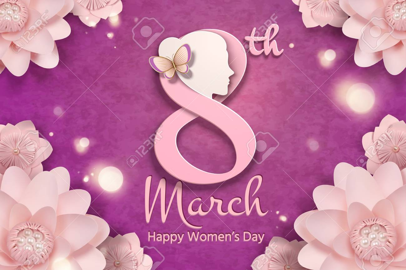 March 8 Women S Day With Woman S Head And Pink Flowers Frame