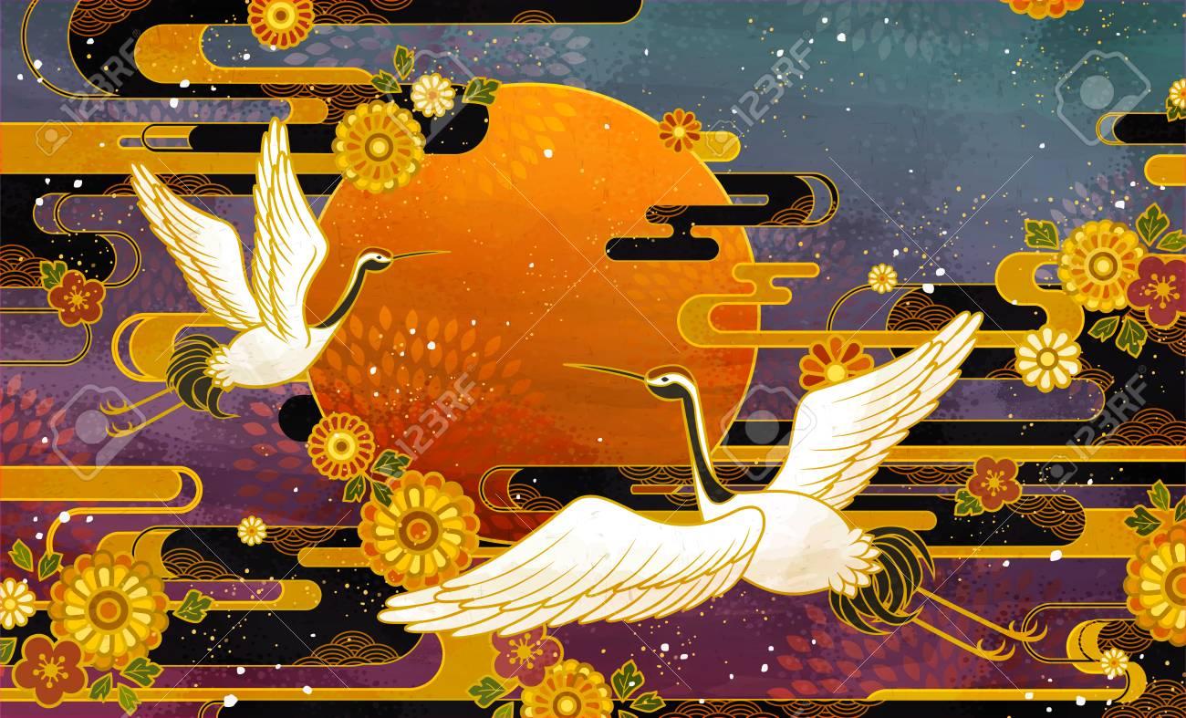 Japanese traditional crane bird and chrysanthemum pattern design - 120326805