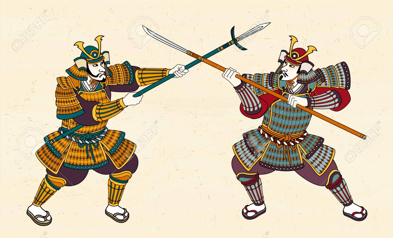 Two Japanese Samurai In Amour Fighting Through Sword Royalty Free Cliparts Vectors And Stock Illustration Image 123965335
