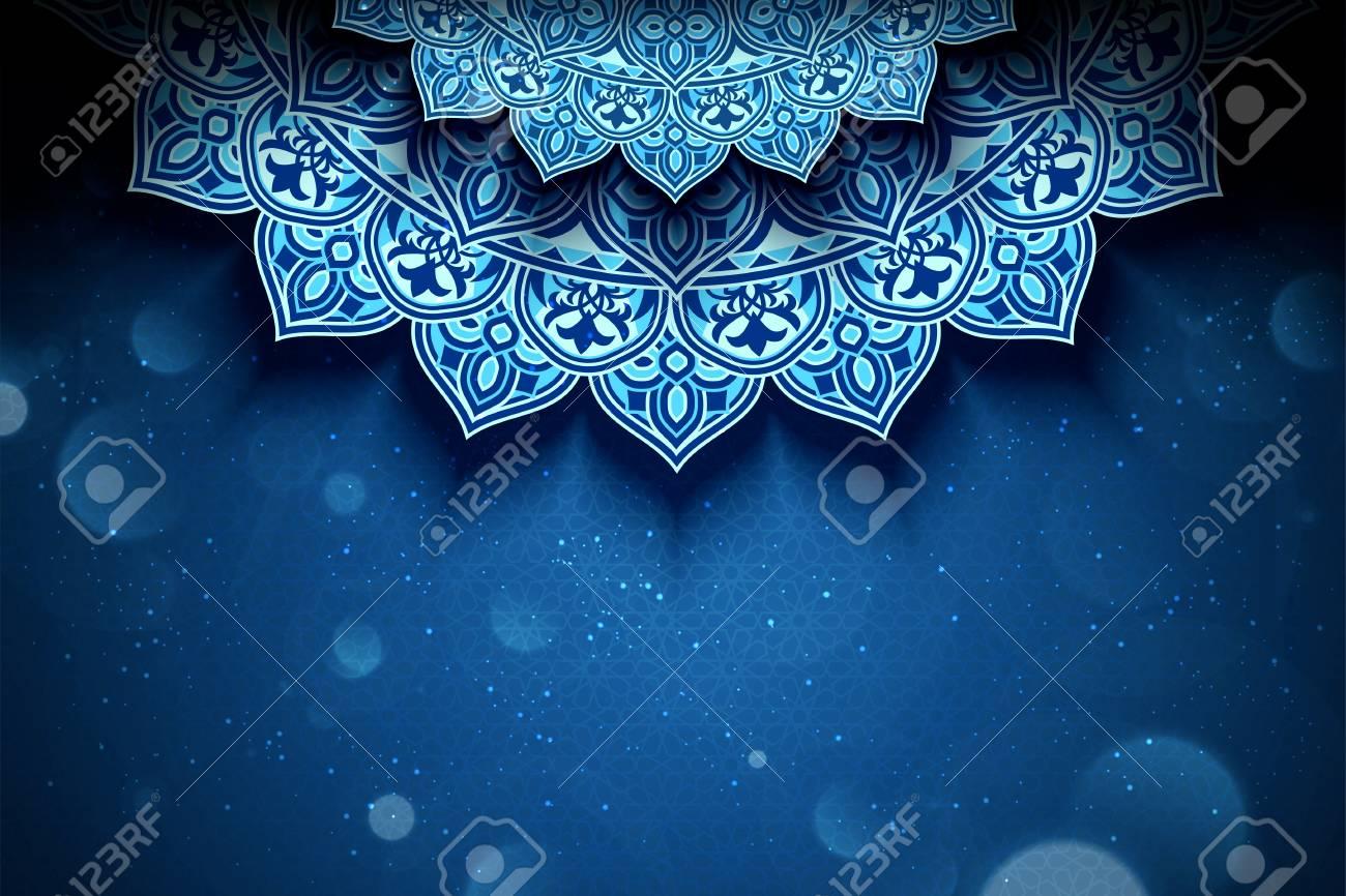 Blue arabesque flower background with glitter bokeh effect - 120722563