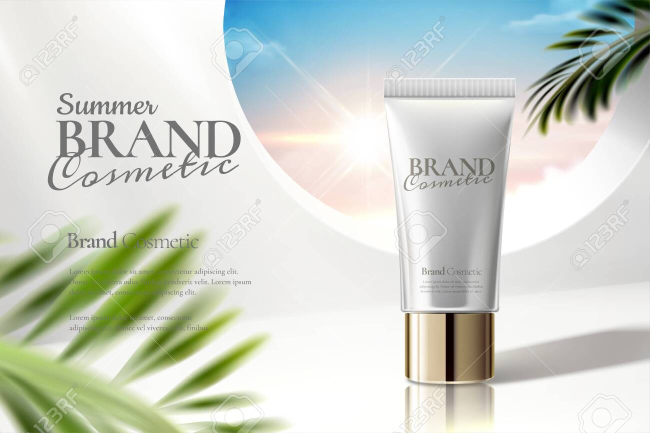 Cosmetic tube ads on white clear background with palm leaves in 3d illustration - 124627667